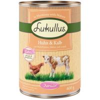 Lukullus Junior Huhn & Kalb mit Haferflocken, Möhre und Leinöl