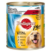 Pedigree Adult Plus Rind in Gelee, mit Fischöl