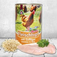 Schecker DOGREFORM Fleischtopf Junior-Menü mit Geflügel, Gemüse und Reis