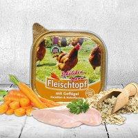 Schecker DOGREFORM Fleischtopf Schälchen-Menü mit Geflügel, Karotten und Haferflocken