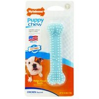 Nylabone Puppy Chew Teething Soft Bone Chicken Flavored Dog Toy Petite Blue